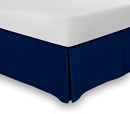 Buy Bargain Combed Cotton Sateen Full Bed-Skirt Navy - 100% Finest Quality Long Staple Fiber - Durab...