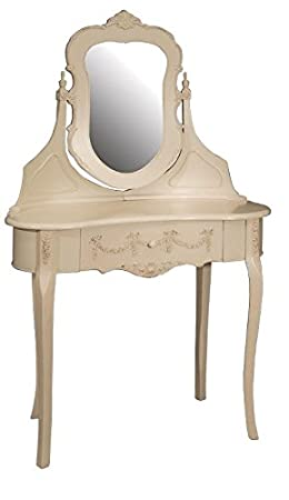 SHABBY CHIC BERGERE KIDNEY FRENCH STYLE ORNATE DRESSING TABLE WITH MIRROR - MATCHING DRESSING STOOL IS AVAILABLE ** A RANGE OF MATCHING FURNITURE IS AVAILABLE FOR BEDROOM, LIVING ROOM, KITCHEN, DINING ROOM, BATHROOM & HALL **