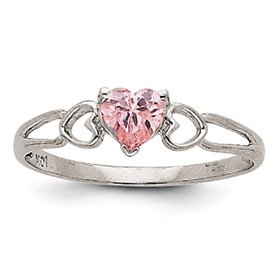 Genuine IceCarats Designer Jewelry Gift 14K White Gold Pink Tourmaline Birthstone Ring Size 6.00