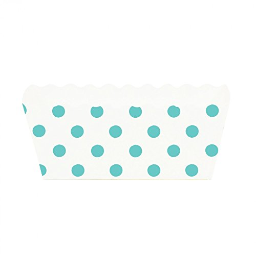 Dress My Cupcake Polka Dot Rectangle Loaf Pan (Set of 6), Diamond Blue (Diamond Cake Pan compare prices)