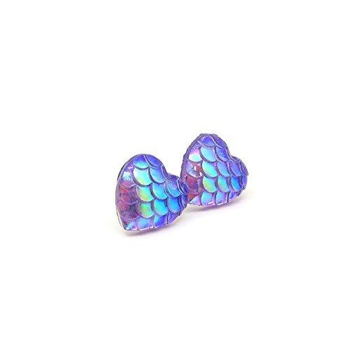 12mm-heart-shaped-mermaid-scale-earrings-on-plastic-posts-for-metal-sensitive-ears-pink-and-purple