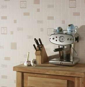 Kitchen and Bathroom Cafe Cult Wallpaper - Beige from New A-Brend