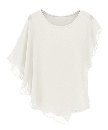 Am Clothes Womens Summer Chiffon O-Neck Tops Blouse T-Shirt (A-White) front-478046