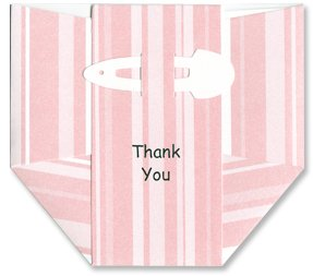Baby Thank-you Cards - Pink Striped Diapers