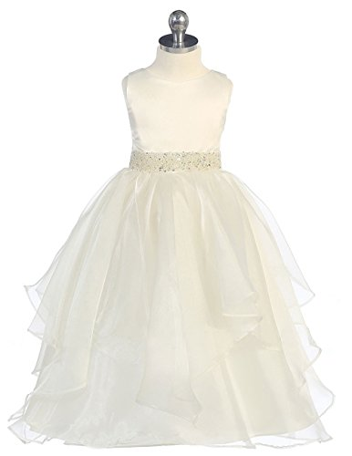 Fashion Plaza Flower Girl Satin Beads Layered Princess Party Pageant Dress K0009