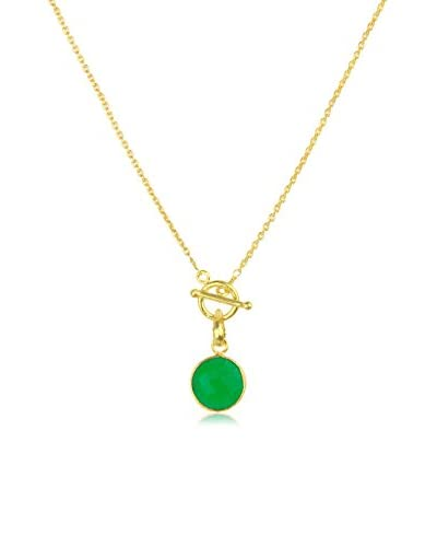 Saachi Green Onyx Round Pendant Necklace