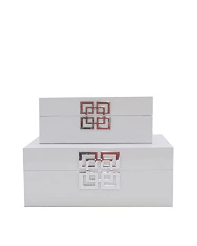 Three Hands Set of 2 Wood Boxes, White