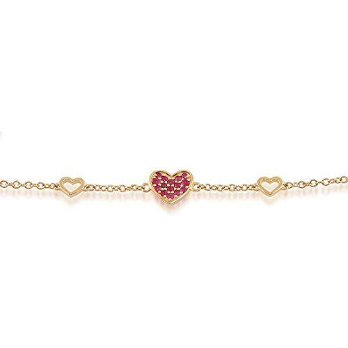 Gemondo Ruby Bracelet, 9ct Yellow Gold 0.17ct Ruby Heart Design 19cm Bracelet