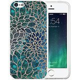 iPhone SE Case, LAACO Beautiful Clear TPU Case Rubber Silicone Skin Cover for iPhone 5/5S/SE - Blue -green gem floral design (Iphone 5 Case Gem compare prices)