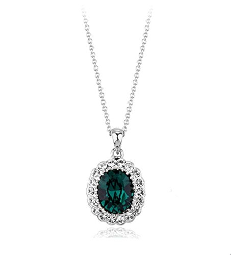 Oval Shaped Swarovski Elements Crystal Pendant Necklace Fashion Jewelry For Women (Emerald)