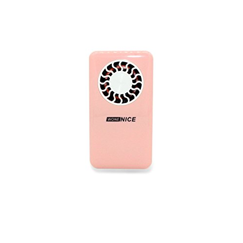 WoneNice Mini Usb Bladeless Fan Chargeable Genuine Ultra-thin Handheld the Ifan Creative Air Conditioning Fan, Battery Operated Summer Personal Pocket Fan (Rechargeable Lithium Battery) (Pink) (Rechargeable Battery Operated Fan compare prices)