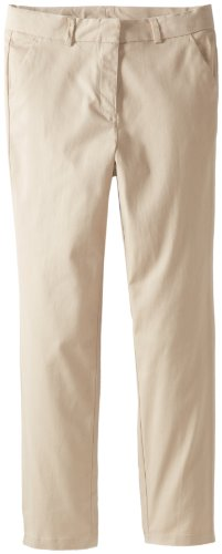 Nautica Big Girls' Plus-Size Stretch Twill Skinny Pant, Khaki, 18.5 front-1079318