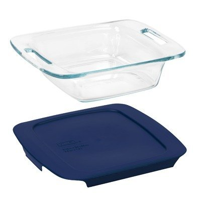 "Pyrex Dish With Lid Square 8"" X 8"" Blue"