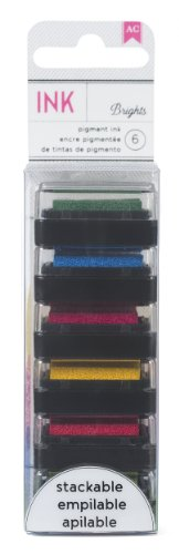 American Crafts 6-Pack Mini Decorative Stamp Set, Brights