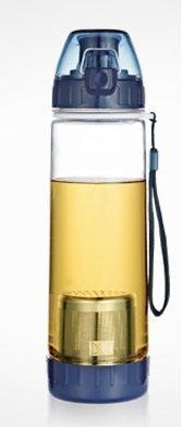 Qzoxx Portable Leak-Proof Filter Tea Cup/Travel Mug/Kettle, Dark Blue