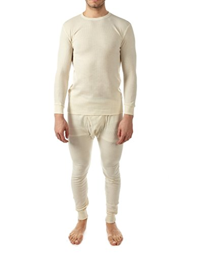 Vertical sports men's Waffle-knit Thermal set(2 piece) (Ivory, Medium)