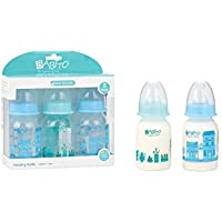 BABITO 3 Baby Feeding Bottles With Silicone Nipple 120 Ml / 4 Oz. Blue