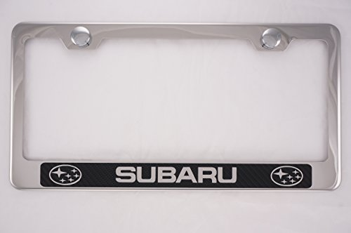 Subaru Chrome License Plate Frame w/ Carbon Fiber Style Letter (Subaru License Plate Frame Chrome compare prices)