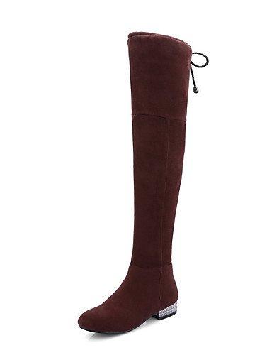 Donna Round punta chiusa alta cima tacchi bassi solidi scarponi smerigliato,Black,US6 / EU36 / UK4 / CN36