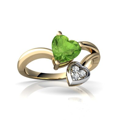 Jewels For Me 14K Yellow Gold Heart Genuine Peridot Ring Size L