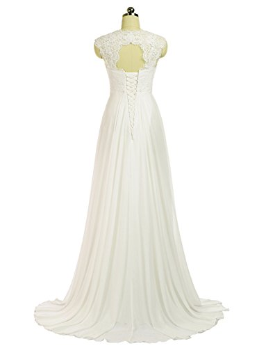 Erosebridal 2016 New Sleeveless Lace Chiffon Wedding Dress Bridal Gown Size 8 White