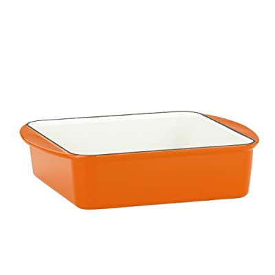 Mario Batali 826688 Enameled Cast Iron Square Baker, 9-Inch, Persimmon