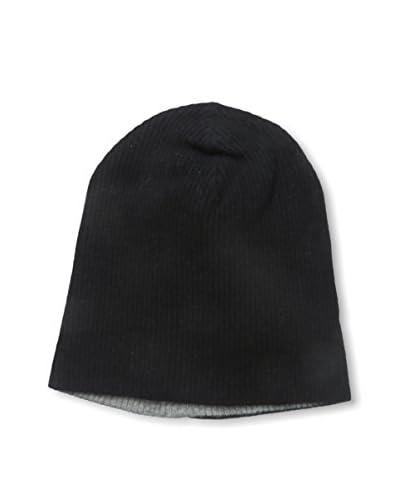 Portolano Men's Merino 2-Tone Solid Knit Hat, Black/Light Heather Grey