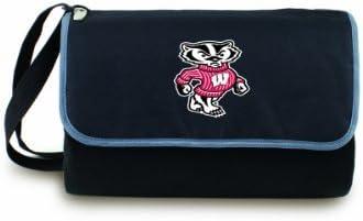 NCAA Wisconsin Badgers Outdoor Picnic Blanket Tote Black Size59quot x 51quot Open 12quot x 8quot x 4