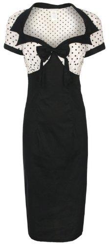 Lindy Bop 'Laney' Chic Vintage 50's Style Black Bengaline Pencil Wiggle Dress