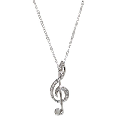 Silver Treble G Clef Music Note Necklace with Crystal accents