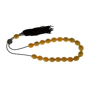 Worry Beads with Tassel - Amber and White