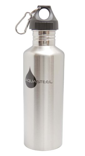 Stainless Steel Sports Water Bottles Wide Mouth by AquaSteel Food Grade 40 oz SILVER