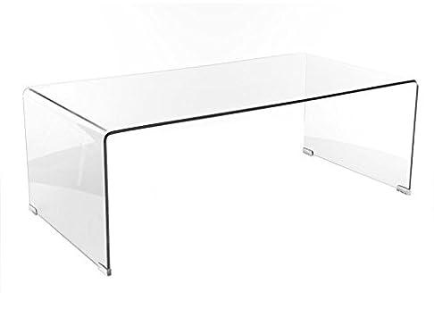 Jadella - Tavolino da salotto di design Priam A, in vetro trasparente