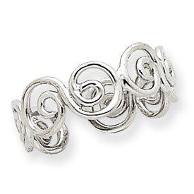 Genuine IceCarats Designer Jewelry Gift 14K White Gold Swirl Toe Ring Size 0.00