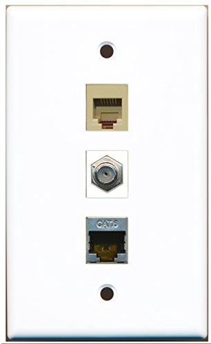 Riteav - 1 Port Coax Cable Tv- F-Type And 1 Port Phone Rj11 Rj12 Beige And 1 Port Shielded Cat6 Ethernet Wall Plate