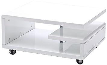Robas Lund 58227WW4 Couchtisch Kira, 4 Rollen, 74 x 60 x 35 cm, MDF Hochglanz weiß