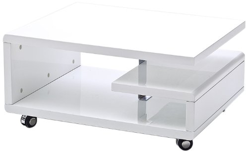 This is a very stylish looking white coffee table.