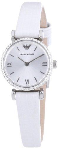 Emporio Armani AR1686 - Reloj para mujeres, correa de cuero color blanco