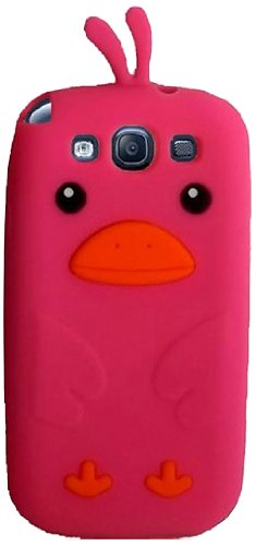 Qtech Qt-1210 Unique Funny Duck Protective Case For Samsung Galaxy S3 - 1 Pack - Retail Packaging - Hot Pink