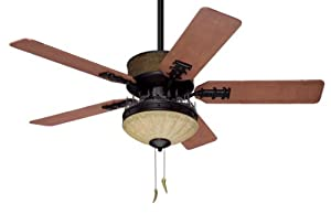 Hunter 28523 Bear Creek 52-Inch Single Light 5-Blade Ceiling Fan, Brittany Bronze with Gouged Distressed Cherry Blades and Amber Glass Light Bowl