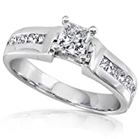 1.00 Carat Princess Diamond Engagement Ring in 14k White Gold