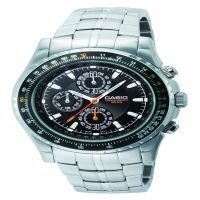 Casio Mens Chronograph Slide Rule Bezel Stainless Steel Watch