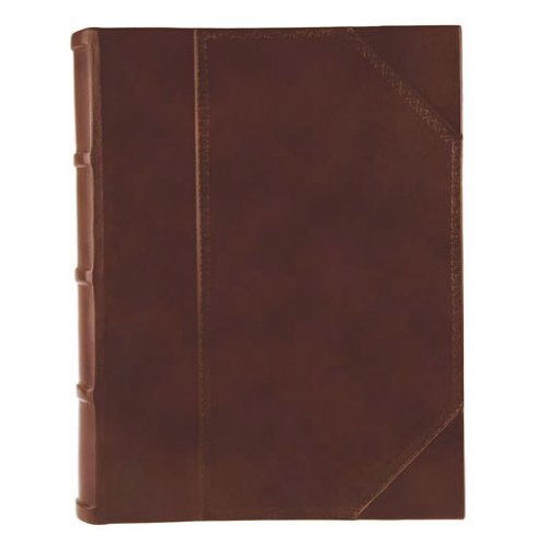 Eccolo Made in Italy Tuscania Antique Brown Leather Album Scrapbook With 50 Ivory Pages, 9 x 12-Inch