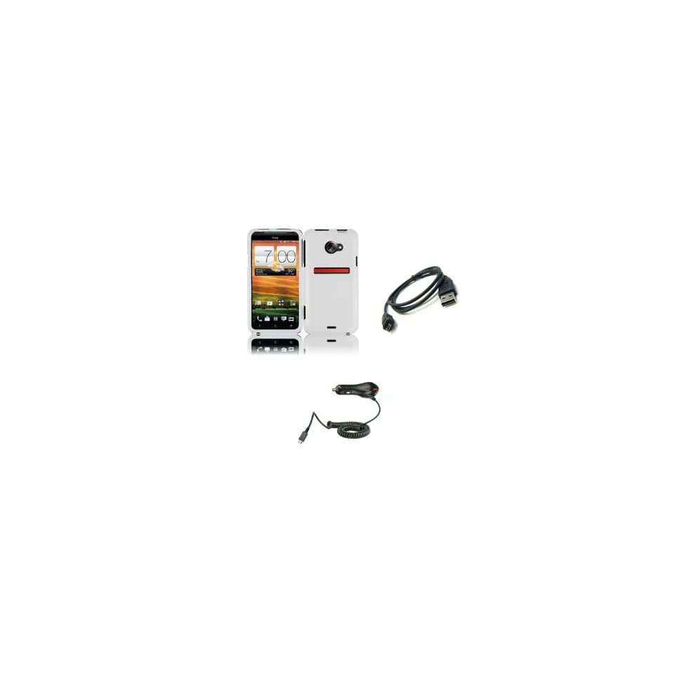 HTC EVO 4G LTE (Sprint) Premium Combo Pack   White Hard Shield Case Cover + Car Charger + Micro USB Data Cable + Zombeez Key Tag