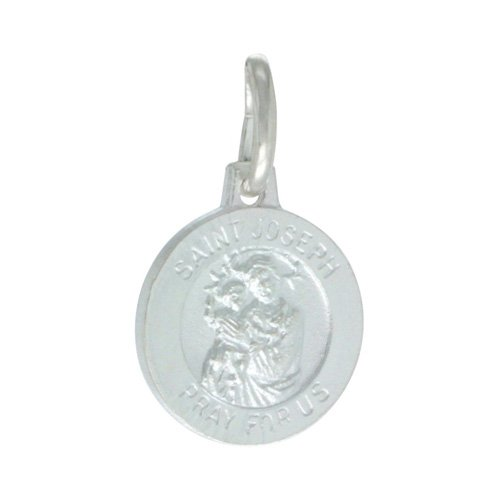 Sterling Silver Saint Joseph Medal Oval 1/2 inch Oval Made in Italy,