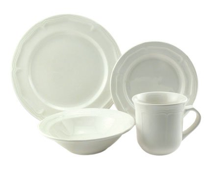 Simply White Stoneware Dinnerware, 16 Piece Set