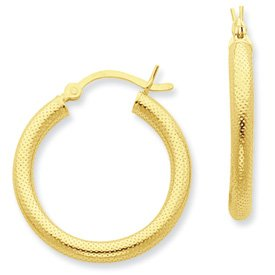 Genuine IceCarats Designer Jewelry Gift Sterling Silver Gold-Flashed Patterned 25Mm Hoop Earrings