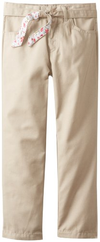 U.S. Polo Assn. School Uniform Big Girls' Brushed Twill Pant with Reversable Belt, Khaki, 14