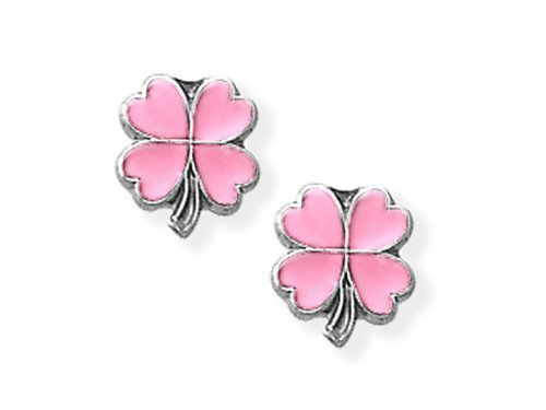 925 Sterling Silver Childrens Pink 4 Leaf Clover Earrings LIFETIME WARRANTY