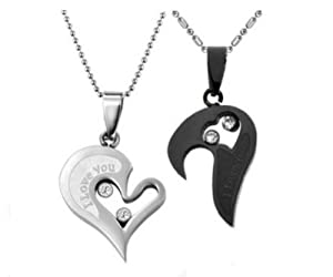 Couple Stainless Steel Necklace Black & Silver Pendant I Love You Heart Shape